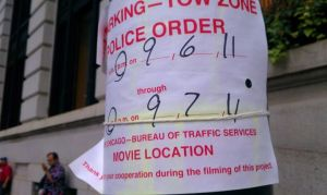 Signs posted all through town as they were filming